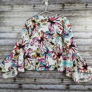 Catherine Malandrino bell sleeve blouse floral top